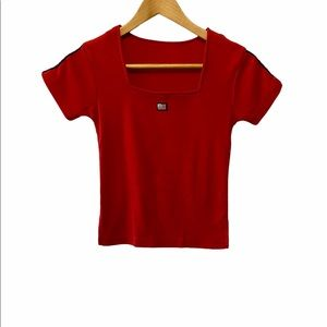 USA Red Cotton Cropped Stretch Square Neck Tee S